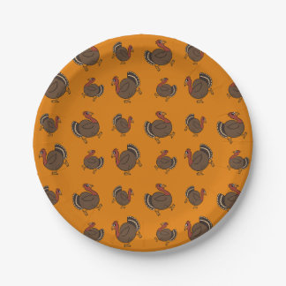 Happy Turkey Pattern Fun Thanksgiving Buffet Party 7 Inch Paper Plate