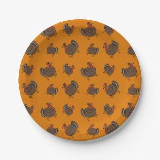 Happy Turkey Pattern Fun Thanksgiving Buffet Party Paper Plate