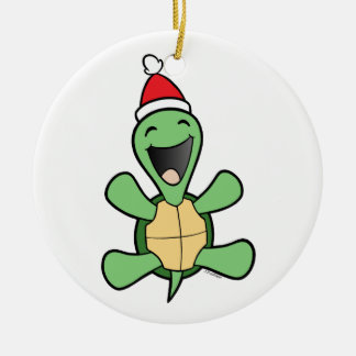 Happy Turtle Christmas Ceramic Ornament