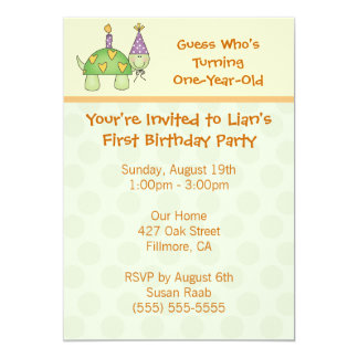"Happy Turtle Party Invitatons 5"" X 7"" Invitation Card"