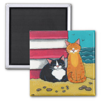 Happy Tuxedo and Tabby Cat on the Beach Square Magnet