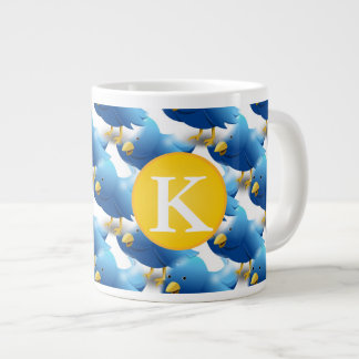 Happy Tweeting Twitter Icon w/Monogram Giant Coffee Mug