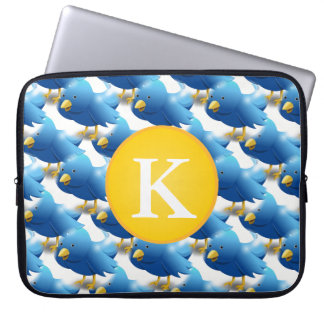 Happy Tweeting Twitter Icon w/Monogram Laptop Computer Sleeve