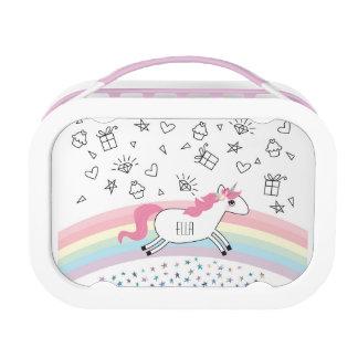 Happy unicorn custom name lunch box