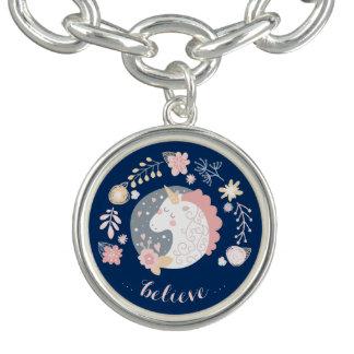 Happy Unicorn Cute Inspiring Believe Charm Bracelet