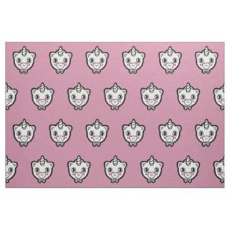 Happy Unicorn Emoji Pink Patterned Fabric