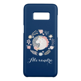 Happy Unicorn Whimsical Personalized Navy Case-Mate Samsung Galaxy S8 Case