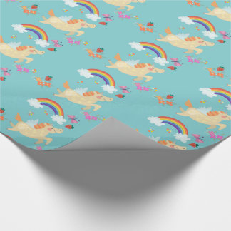 Happy Unicorn with Rainbow Clouds and Flowers
