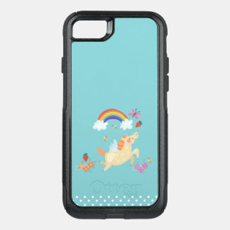 Happy Unicorn with Rainbow Clouds and Flowers OtterBox Commuter iPhone 8/7 Case