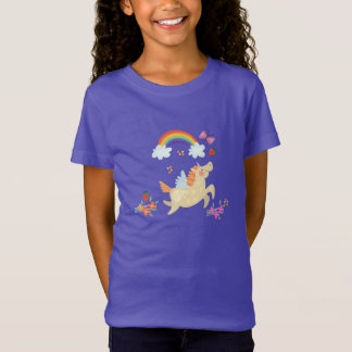 Happy Unicorn with Rainbow Clouds and Flowers T-Shirt