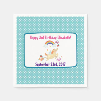 Happy Unicorn with Rainbow Clouds Birthday Paper Napkins