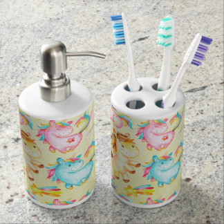 Happy Unicorns Pattern-Unicorn Love in Yellow Soap Dispenser And Toothbrush Holder