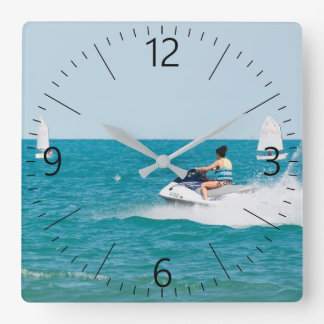 Happy vacations square wall clock