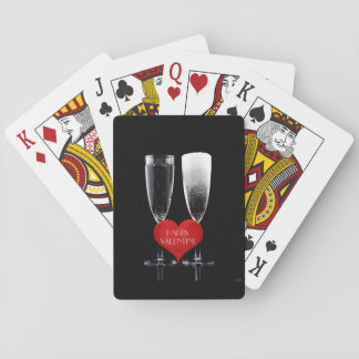 Happy Valentine Champagne Flute Red Heart Text Poker Deck