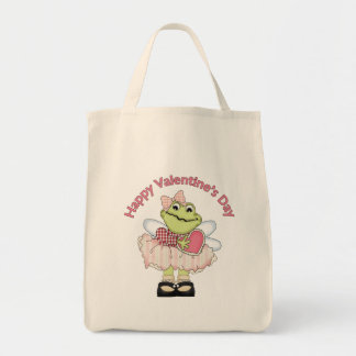 Happy Valentine Frog with Heart Tote Bag