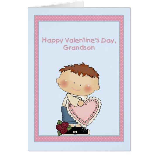 Happy Valentine Grandson, Pink Heart Card
