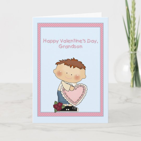 Happy Valentine Grandson, Pink Heart Christmas Card