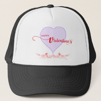 Happy-Valentine-Purple-Heart-Swirls Trucker Hat