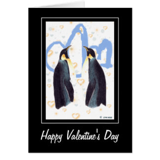 Happy Valentine s Penguins Greeting Card