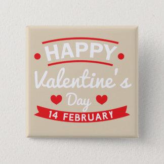 Happy Valentine's 14 February 2 Inch Square Button
