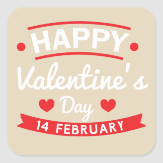 Happy Valentine's 14 February Square Sticker