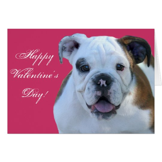 Happy Valentine's Bulldog puppy greeting card