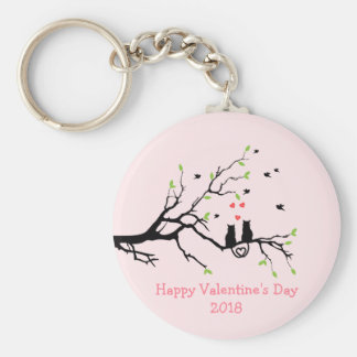 Happy Valentine's Day 2018 Two Black Cats in Love Keychain