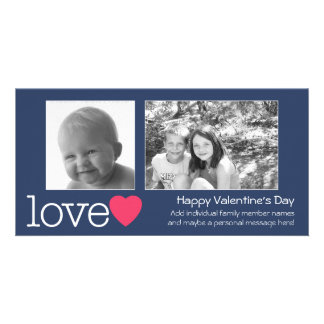 Happy Valentines Day - 2 photos - horizontal Photo Card Template