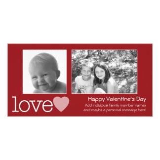 Happy Valentines Day - 2 photos - horizontal Customized Photo Card