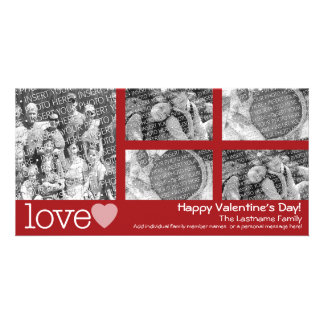 Happy Valentines Day - 5 photo collage Photo Greeting Card