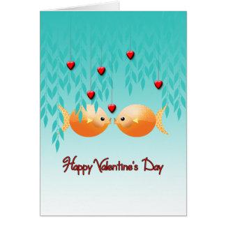 Happy Valentine's Day Asian Goldfish Koi Card
