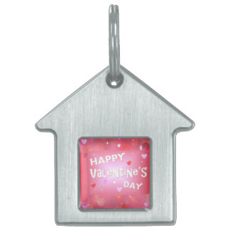 Happy Valentine's day background Pet Name Tag