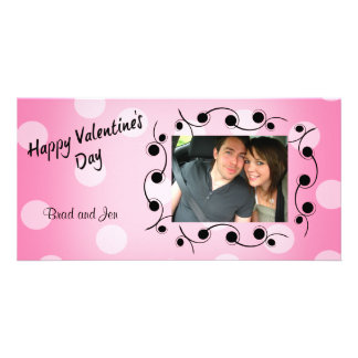 Happy Valentine's Day Black and Pink Personalized Personalized Photo Card