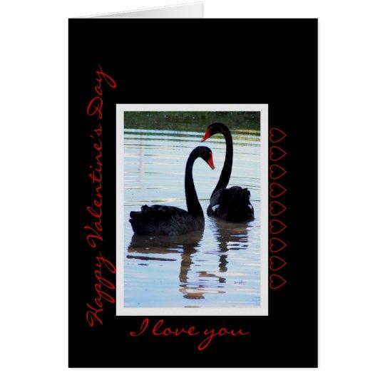 Happy Valentine's Day Black Swans Card