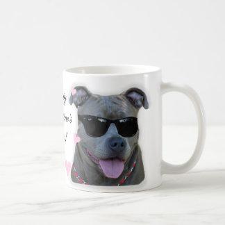 Happy Valentine's Day Blue pitbull mug