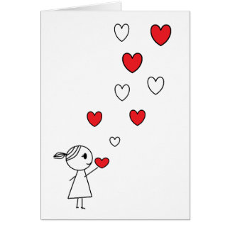 Happy Valentine's Day Card Stick Girl with Hearts