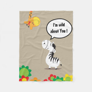 Happy Valentines Day cute zebra and giraffe Fleece Blanket