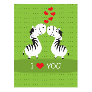 Happy Valentines Day cute zebras with hearts Postcard
