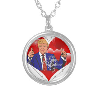 happy valentines day donald trump silver plated necklace