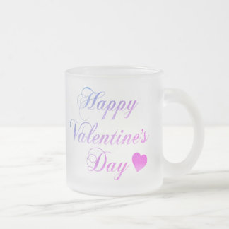 Happy Valentine's Day Frosted Glass Coffee Mug
