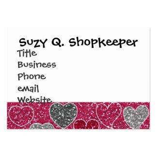 Happy Valentine's Day Glitter Love Bling Hearts Large Business Card