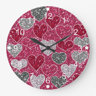 Happy Valentine's Day Glitter Love Bling Hearts Large Clock