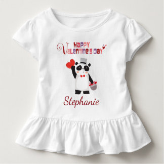 Happy Valentine's Day Heart Panda Personalized Toddler T-shirt