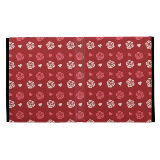 Happy Valentine's Day Hearts and Flowers Red Pink iPad Folio Case