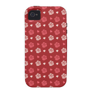 Happy Valentine's Day Hearts and Flowers Red Pink Case-Mate iPhone 4 Covers