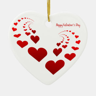 Happy Valentine's Day Hearts Ceramic Ornament