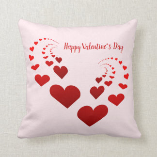 Happy Valentine's Day Hearts Throw Pillow