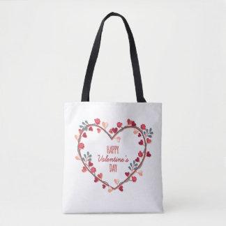 Happy Valentine's Day Hearts Wreath | Tote Bag