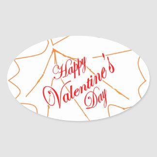 Happy Valentine's Day Oval Sticker