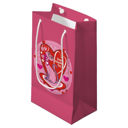 Happy Valentine's Day Pink Kitty Small Gift Bag